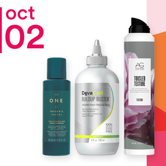 On Tuesday Oct. 2 AG Hair Colour Savour & Texture, 8oz DevaCurl Buildup Buster and starter kits from The One by Frederic Fekkai are 50% off.