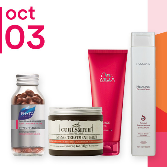 On Wednesday Oct. 3 L'ANZA Color Care Collection and Curlsmith Intense Treatment Serum are 50% off. Select Wella Shampoo & Conditioners are $8.99.