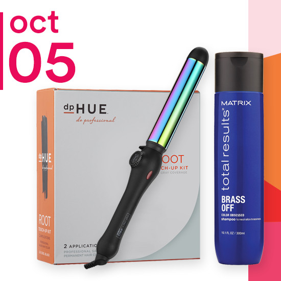 On Friday Oct. 5 Matrix Total Results Color Care Shampoo & Conditioner, dpHUE Root Touch Up Kit and Conair Rainbow Curling Collection is 50% off.