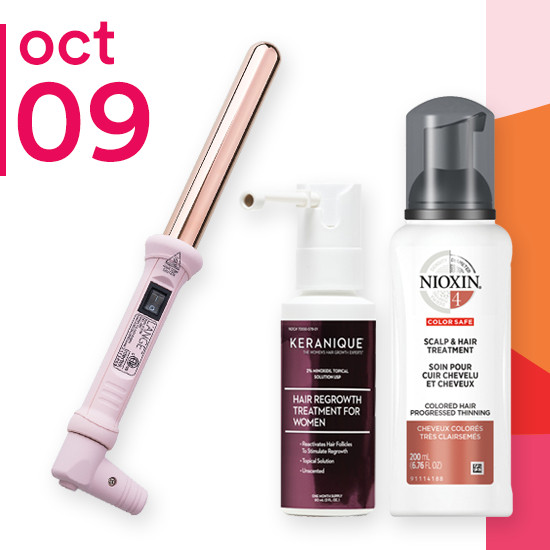 On Tuesday Oct. 9 all treatments of Nioxin and L'Ange Styling Tools are 50% off. Select Keranique haircare are now $18 to $29.40.