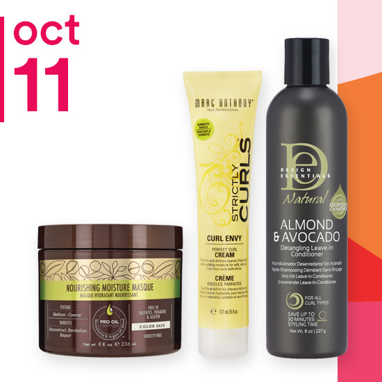 On Thursday Oct.11 Macadamia Professional Masque, entire brand of Design Essentials and Marc Anthony Strictly Curls Line are 50% off.