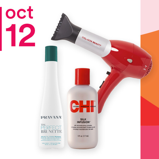 On Friday Oct. 12 select styling of Chi, Chi for Ulta Beauty Red and Pink Dryers and Pravana Perfect Brunette Collection are 50% off.