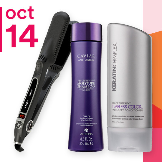 On Sunday Oct. 14 select Alterna Caviar products, 8.5-13.5oz Keratin Complex Shampoo & Conditioner and Titan Croc Classic Black Titanium 1.5 inch Flat Iron are 50% off.
