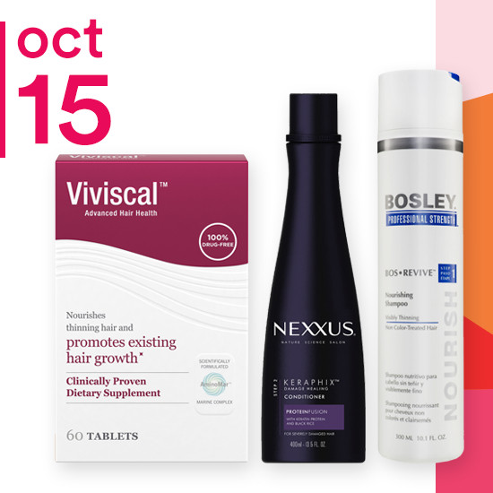 On Monday Oct. 15 the entire brand of Bosley is 50% off. Nexxus Keraphix Shampoo & Conditioner is now $7 to $10 and Vivisical Tablets are now $20.
