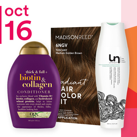 On Tuesday Oct. 16 entire Unwash brand and Madison Reed Radiant Hair Color Kits are 50% off. OGX Shampoo & Conditioner are two for $11.