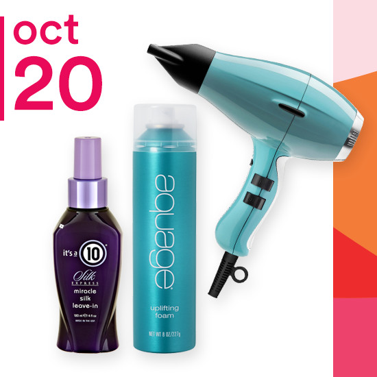 On Saturday Oct. 20 Aquage Uplifting Foam, It's A 10 Silk Collection and Elchim Light Ionic Fifties Blue Hair Dryer are 50% off.