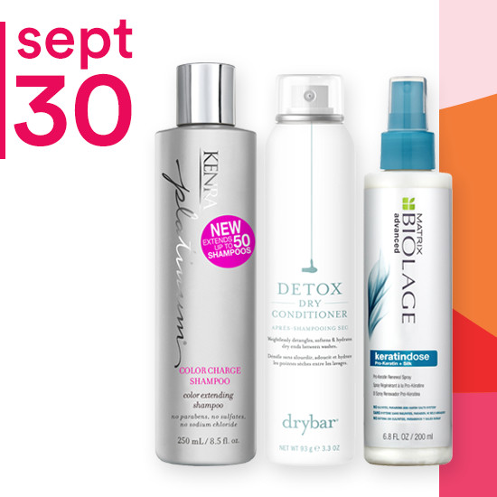 On Sunday Sept. 30 Kenra Professional Shampoo & Conditioner, DryBar Detox Dry Conditioner, and Matrix Biolage Advanced are 50% off.