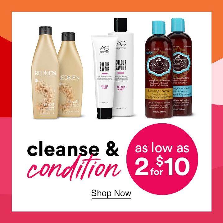 Cleanse and condition your hair with select shampoos and conditioners starting as low as 2 for $10 during Ulta's Gorgeous Hair Event.