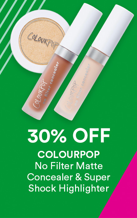 Receive 30% off Colourpop No Filter Matte Concealer & Super Shock Highlighter during Holiday Haul at Ulta Beauty!
