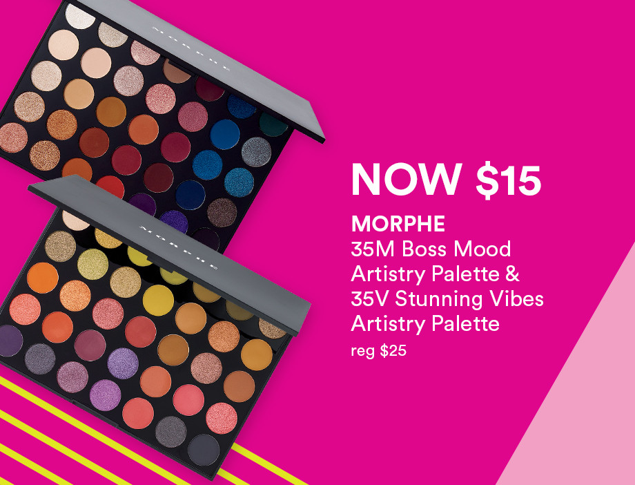 The Morphe 35M Boss Mood Artistry Palette and 35V Stunning Vibes Artistry Palette are only $15 during Black Friday at Ulta Beauty!
