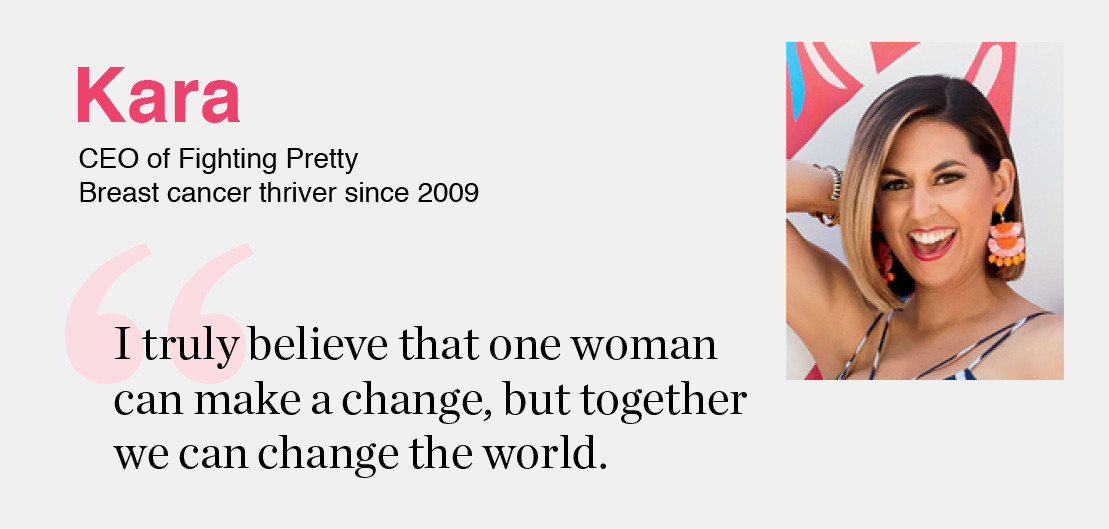 Kara- CEO of Fighting Pretty Breast, cancer thriver since 2009 'I truly believe that one woman can make a change, but together we can change the world.'