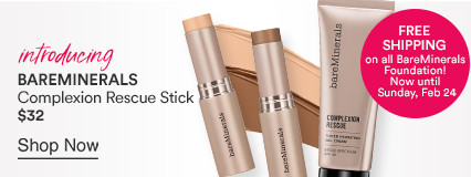 Bareminerals Introducing the New Complexion Rescue Stick $32. Free Shipping on all Bare Minerals Foundation! Now until Sunday 2/24