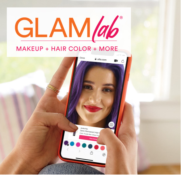 Download Ulta Beauty's app and use GLAMlab? to try on looks virtually.