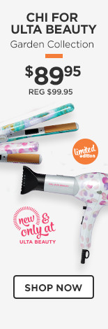 New and Only at Ulta Beauty! Chi for Ulta Beauty Limited Edition Garden Collection Hairstyling iron or professional dryers! Includes free backpack tote! Now $89.95 Reg $99.95