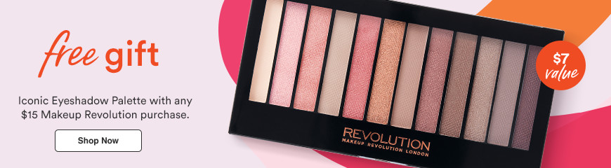 Free Gift! Iconic Eyeshadow Palette with any $15 Makeup Revolution purchase. $7 value.