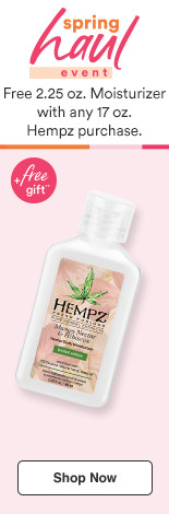 Free Gift! Moisturizer 2.25 oz with any 17 oz Hempz purchase.