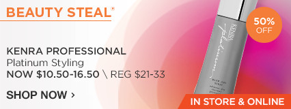 IN STORE AND ONLINE beauty steal! 50% Off Kenra Professional Styling.  Now $7- 16.50/ Reg $14-33.