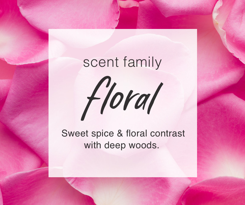 Scent Family: Floral. Sweet spice & floral contrast with deep woods.