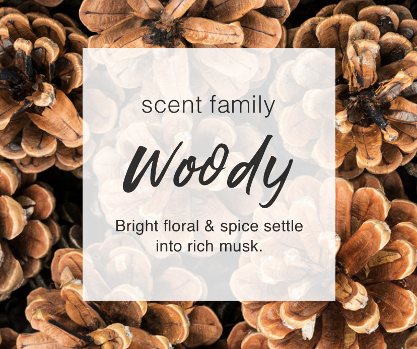 Scent Family: Woody. Bright floral & spice settle into rich musk.