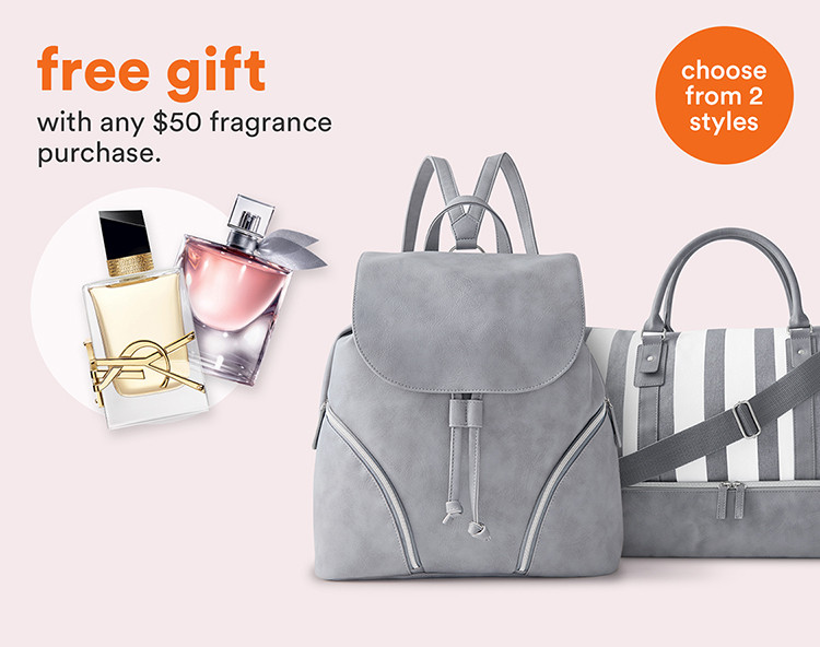 Free gift with any $50 ulta.com fragrance purchase. Choose from duffle bag or backpack.