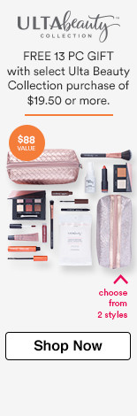 Free 13 piece gift with any Ulta Beauty Collection makeup, brushes, beauty tools or skincare purchase of $19.50 or more! $88 Value. Choose from 2 bag styles.