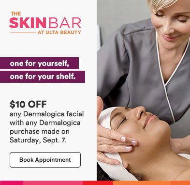 Get $10 off any Dermalogica facial with any Dermalogica retail purchase made on Sat, 9/7!