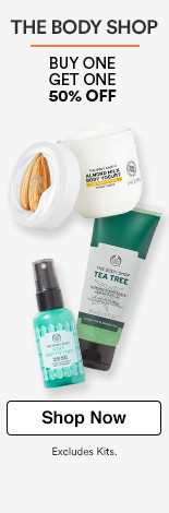 The Body Shop Buy 1 Get 1 50%. (excludes kits)