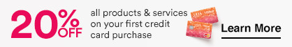 20% Off all products & services on your first credit card purchase.