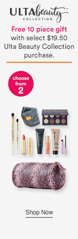 10pc Free Gift with any $19.50 Ulta Beauty Collection Makeup, Brushes, Beauty Tools, Skincare or Bath purchase