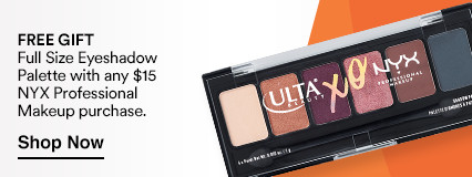 Free Gift Full Size Eyeshadow Palette with any $15 NYX Professional Makeup Purchase.