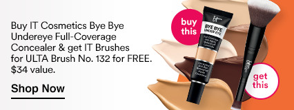 Buy IT Cosmetics Bye Bye Undereye Full-Coverage Anti-Aging Waterproof Concealer, $26 and get IT Brushes for ULTA Airbrush Dual-Ended Flawless Complexion Brush No. 132 Free!