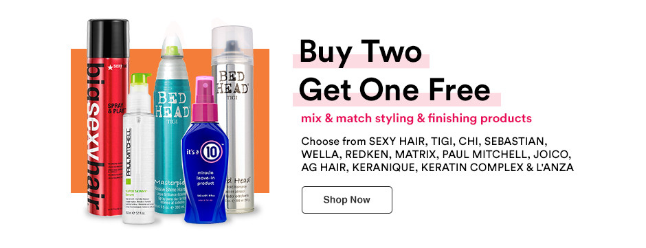 Shop Buy 2 Get 1 Free - mix and match select hair styling and finishing products during Ulta Beauty's Jumbo Event.
