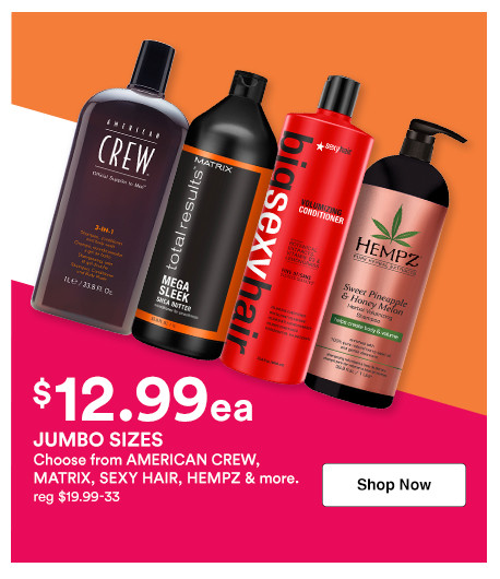 Shop 12.99 shampoo and conditioner liters on brands like American Crew, Matrix, TIGI and more during Ulta's Jumbo Event.