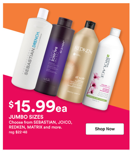 Shop 15.99 shampoo and conditioner liters on brands like Redken, Sebastian, Joico and more during the Jumbo Event at Ulta Beauty.