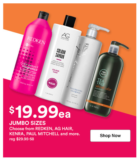 Shop 19.99 shampoo and conditioner liters on brands like Paul Mitchell, Sexy Hair, Kenra and more during Ulta's Jumbo Event.