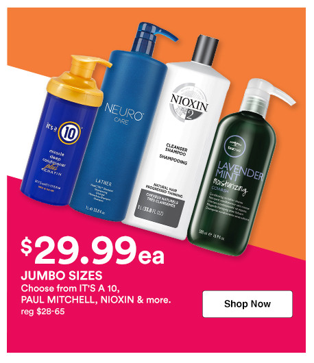Shop 29.99 shampoo and conditioner liters on brands like It's A 10, Paul Mitchell, and more during the Jumbo Event at Ulta Beauty.