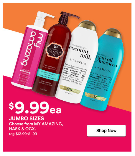 Shop 9.99 shampoo and conditioner liters on brands like Hask, OGX, and more during Ulta's Jumbo Event.