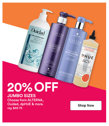 Receive 20% off Ouidad and dpHUE shampoo and conditioner liter sizes during Ulta Beauty's Jumbo Event.