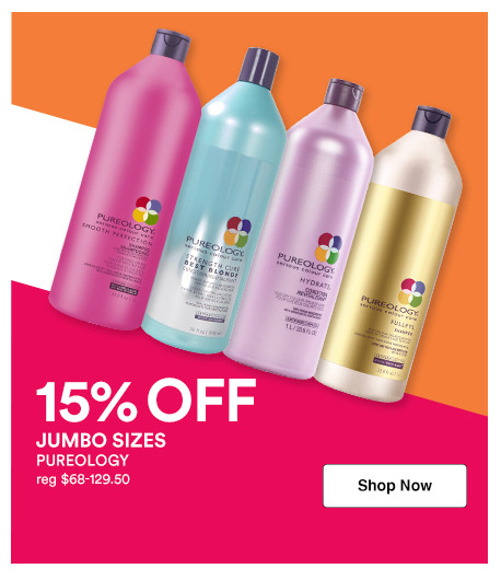 Receive 15% off Pureology shampoo and conditioner liter sizes during Ulta Beauty's Jumbo Event.